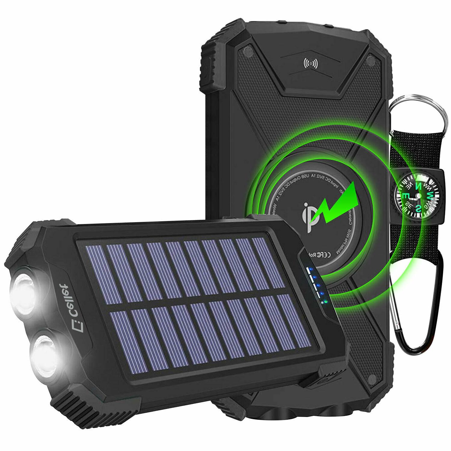 solar powered 10000mah outdoor portable wireless charging